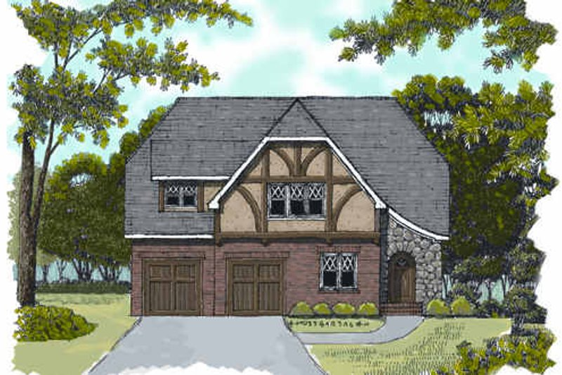 Tudor Exterior - Front Elevation Plan #413-135