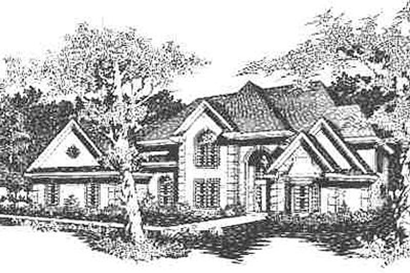 European Style House Plan - 4 Beds 4.5 Baths 4637 Sq/Ft Plan #329-320 Exterior - Front Elevation