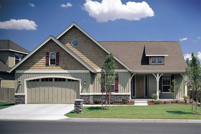 Dream House Plan - Front View - 1975 square foot Craftsman home