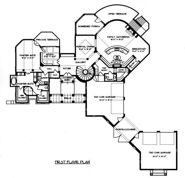 Architectural House Design - Mediterranean Floor Plan - Main Floor Plan #413-134