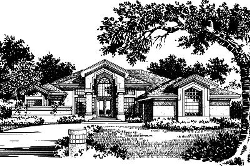 European Style House Plan - 3 Beds 3 Baths 2636 Sq/Ft Plan #417-300 Exterior - Front Elevation