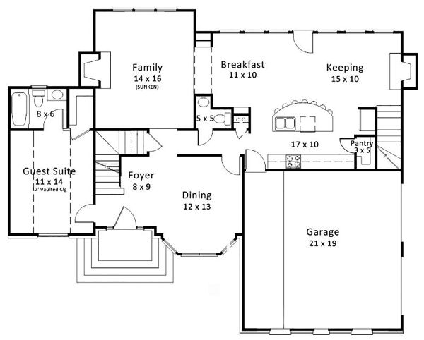 European Floor Plan - Main Floor Plan Plan #119-127