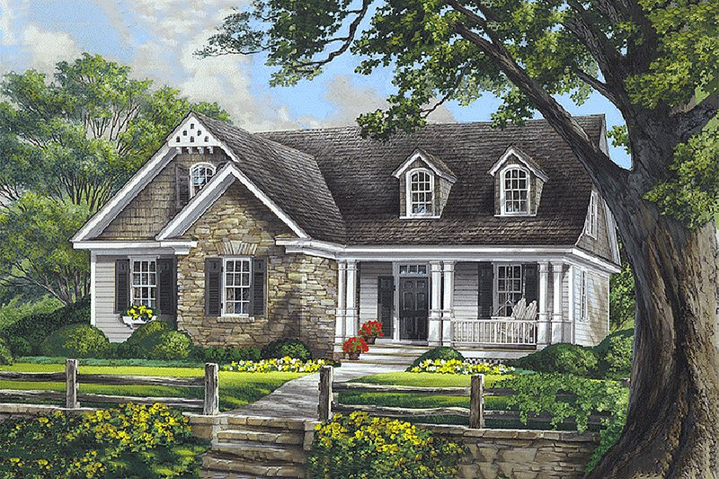 Southern Style House Plan - 3 Beds 2.5 Baths 2020 Sq/Ft Plan #137-293 Exterior - Front Elevation