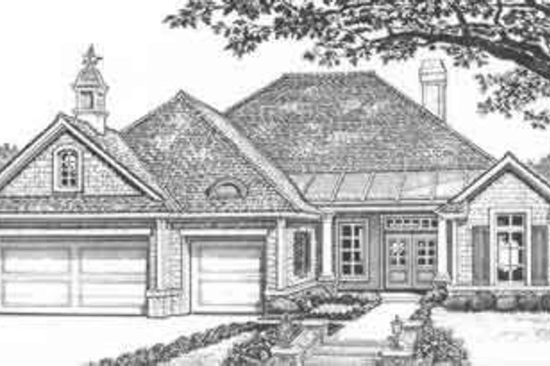 European Style House Plan - 3 Beds 2 Baths 2220 Sq/Ft Plan #310-418 Exterior - Front Elevation