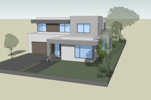 Modern Exterior - Front Elevation Plan #496-25