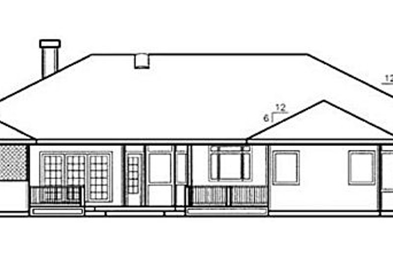 Ranch Exterior - Rear Elevation Plan #60-584 - Houseplans.com