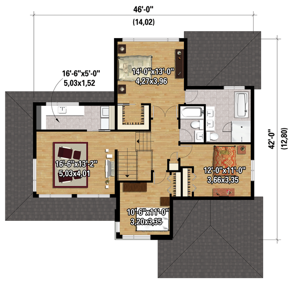 Contemporary Floor Plan - Upper Floor Plan Plan #25-4263