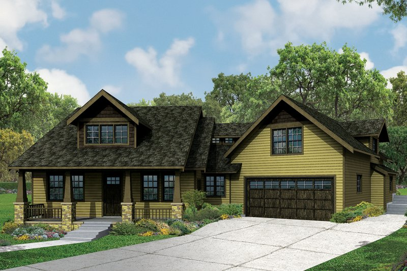 Craftsman Style House Plan - 4 Beds 3 Baths 2840 Sq/Ft Plan #124-979 Exterior - Front Elevation