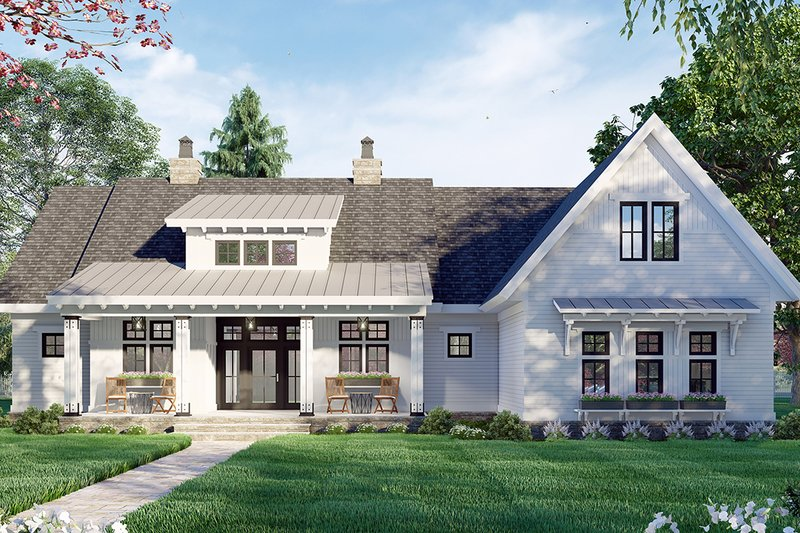 Dream House Plan - Farmhouse Exterior - Front Elevation Plan #51-1171