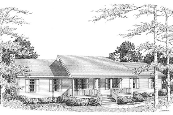 Ranch Exterior - Front Elevation Plan #10-106