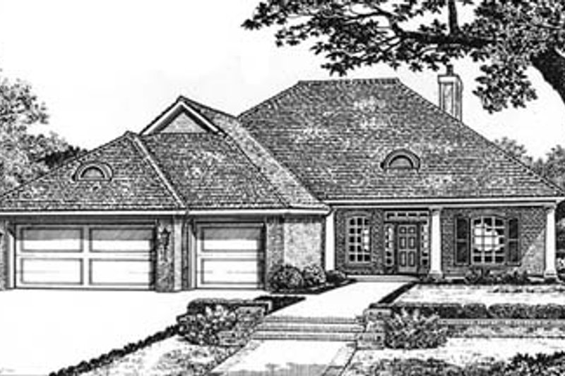 European Style House Plan - 3 Beds 2 Baths 1797 Sq/Ft Plan #310-578 Exterior - Front Elevation
