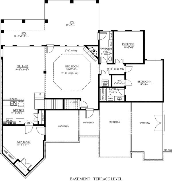 Craftsman Floor Plan - Lower Floor Plan Plan #437-59
