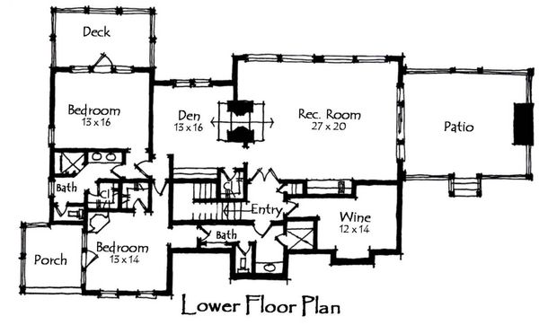 Craftsman Floor Plan - Lower Floor Plan Plan #921-11