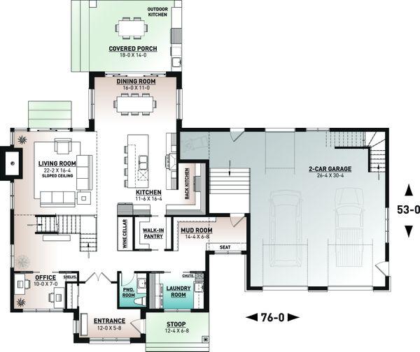 Craftsman Floor Plan - Main Floor Plan #23-2743