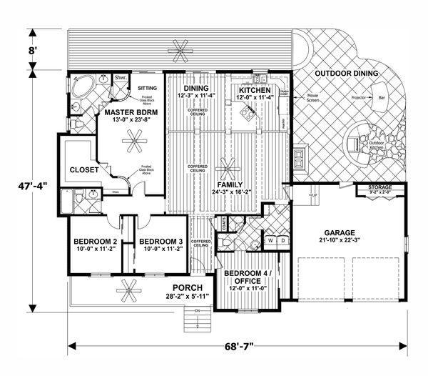 House Plan Design - Craftsman Floor Plan - Main Floor Plan #56-710