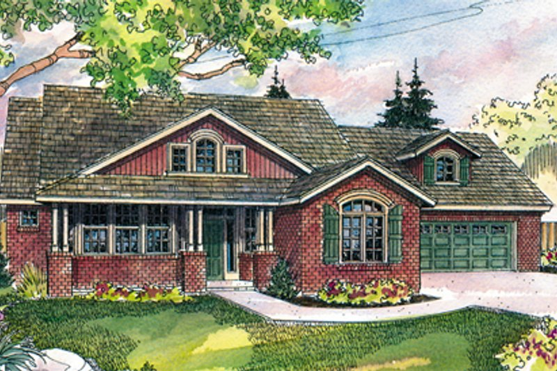 Craftsman Exterior - Front Elevation Plan #124-423