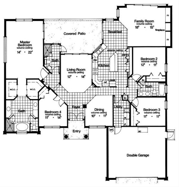 Mediterranean Floor Plan - Main Floor Plan Plan #417-281