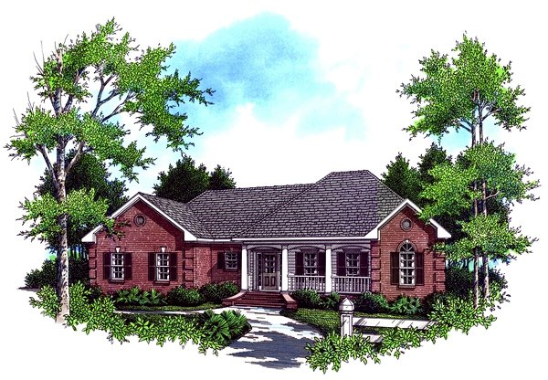 Southern Exterior - Front Elevation Plan #21-328