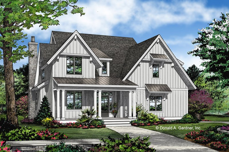 Farmhouse Style House Plan - 4 Beds 3 Baths 2297 Sq/Ft Plan #929-1069 Exterior - Front Elevation