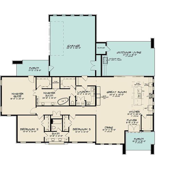 Contemporary Floor Plan - Main Floor Plan #17-3392