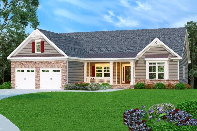 Country Exterior - Front Elevation Plan #419-130 - Houseplans.com