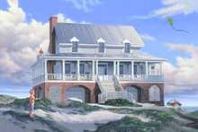 Southern Exterior - Front Elevation Plan #137-254