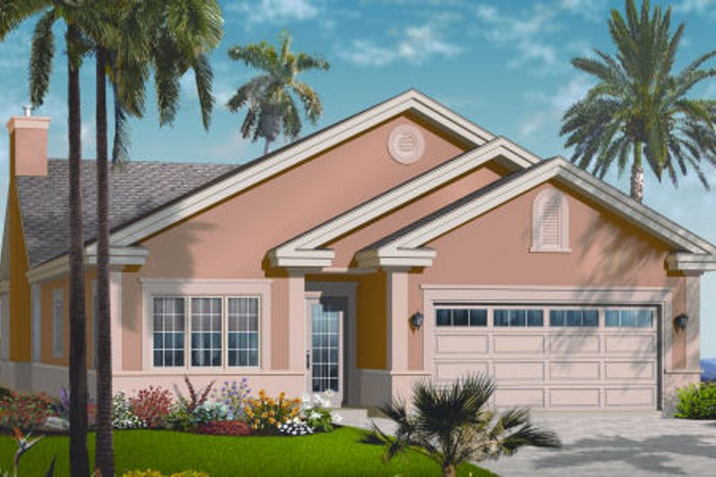 Mediterranean Style House Plan - 3 Beds 2 Baths 2122 Sq/Ft Plan #23-2212 Exterior - Front Elevation