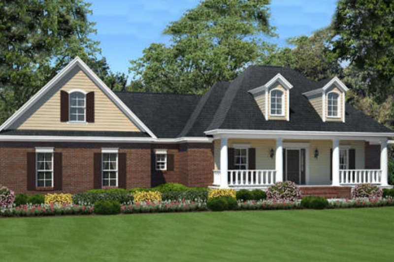 Southern Exterior - Front Elevation Plan #21-302