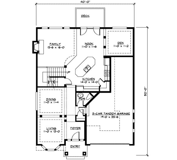 Craftsman Floor Plan - Main Floor Plan Plan #132-219
