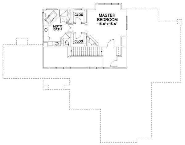 Traditional Floor Plan - Upper Floor Plan Plan #490-30