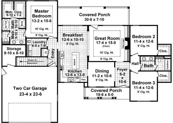 Craftsman Floor Plan - Main Floor Plan Plan #21-357