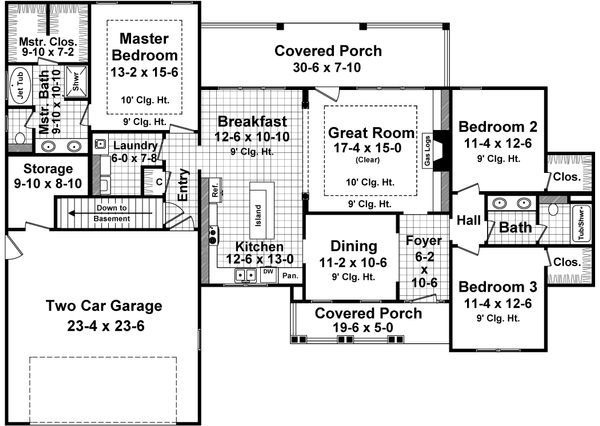 Craftsman Floor Plan - Main Floor Plan Plan #21-357