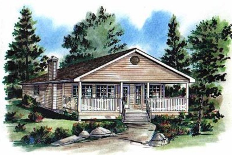 House Blueprint - Ranch Exterior - Front Elevation Plan #18-161