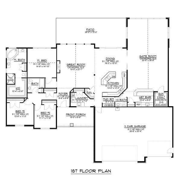 Ranch Floor Plan - Main Floor Plan Plan #1064-64
