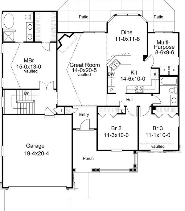 Traditional Floor Plan - Main Floor Plan Plan #57-368