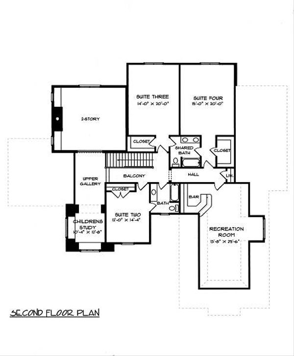 European Floor Plan - Upper Floor Plan Plan #413-148