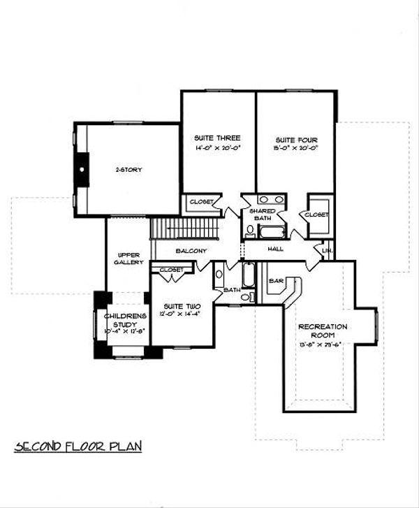 European Floor Plan - Upper Floor Plan Plan #413-148