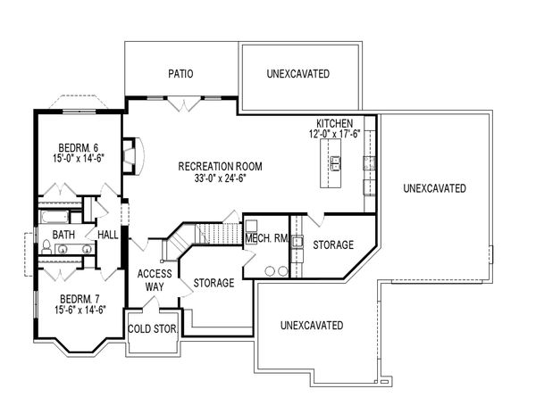 European Floor Plan - Lower Floor Plan Plan #920-30