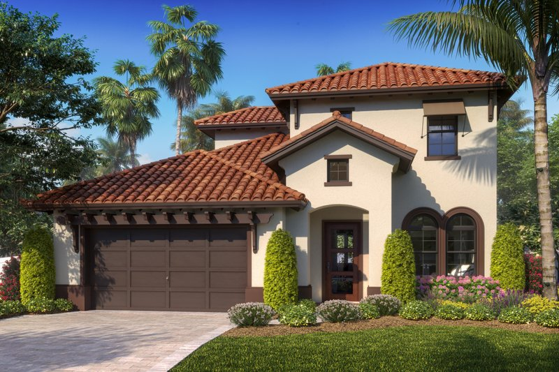 Mediterranean Style House Plan - 4 Beds 3 Baths 2172 Sq/Ft Plan #27-574 Exterior - Front Elevation