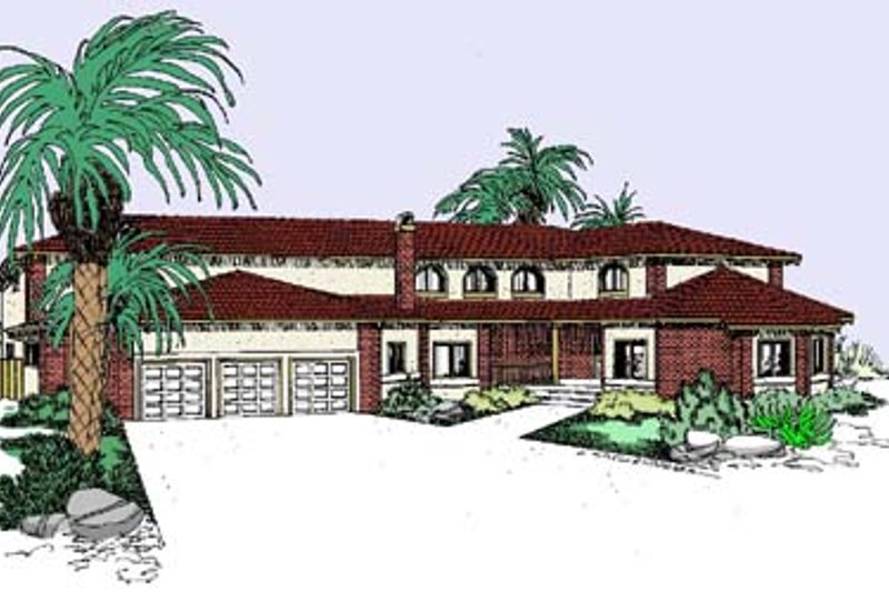 Mediterranean Style House Plan - 4 Beds 3.5 Baths 3249 Sq/Ft Plan #60-529 Exterior - Front Elevation