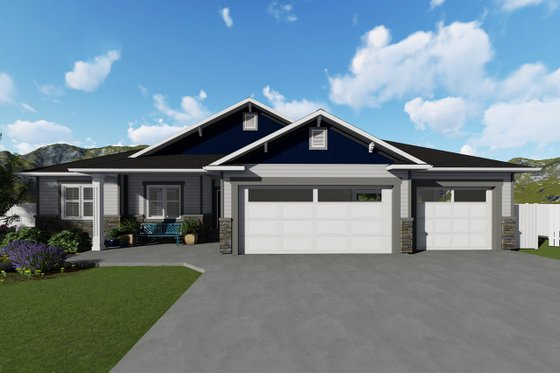 Ranch Exterior - Front Elevation Plan #1060-39