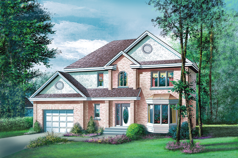 Traditional Style House Plan - 3 Beds 1.5 Baths 1940 Sq/Ft Plan #25-2018 Exterior - Front Elevation