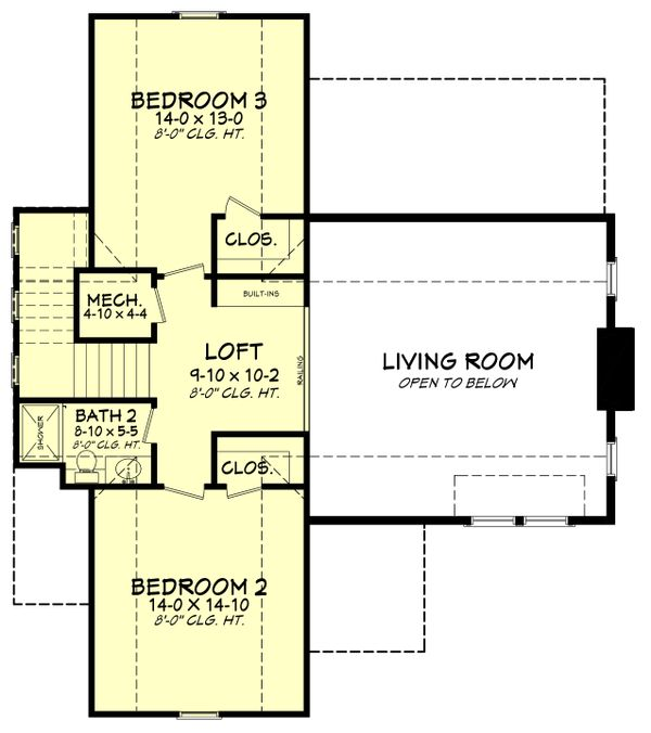 Farmhouse Floor Plan - Upper Floor Plan Plan #430-180