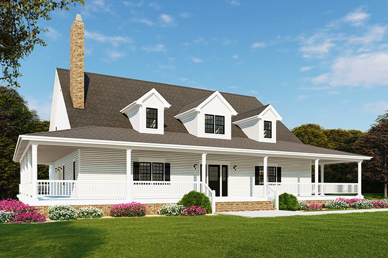 Farmhouse Style House Plan - 3 Beds 2.5 Baths 2711 Sq/Ft Plan #923-109 Exterior - Front Elevation