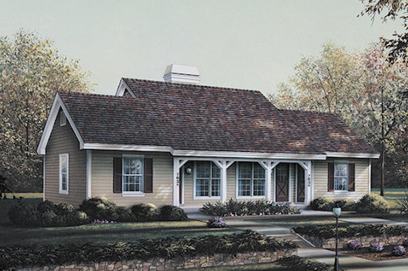 Country Style House Plan - 1 Beds 1 Baths 1076 Sq/Ft Plan #57-570 Exterior - Front Elevation