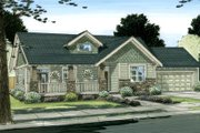 Craftsman Style House Plan - 2 Beds 2 Baths 1538 Sq/Ft Plan #126-142 Exterior - Front Elevation