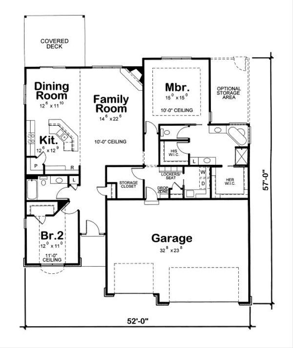 Traditional Floor Plan - Main Floor Plan Plan #20-2089