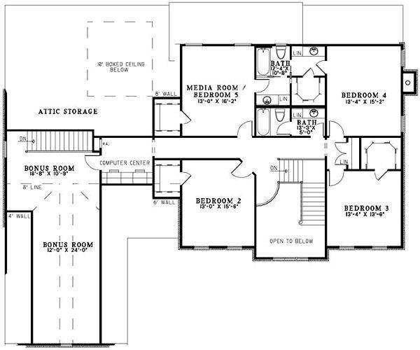 Colonial Floor Plan - Upper Floor Plan Plan #17-1182
