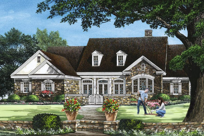 Country Exterior - Front Elevation Plan #137-279
