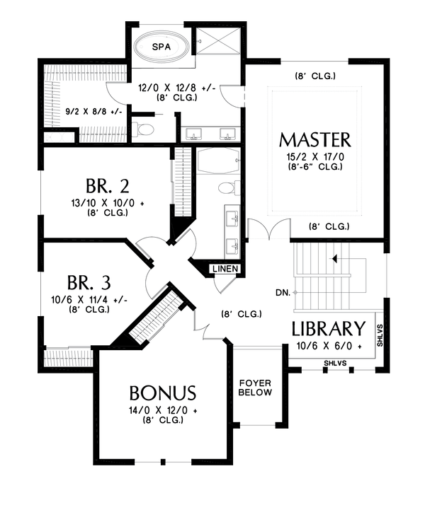 Contemporary Floor Plan - Upper Floor Plan Plan #48-990